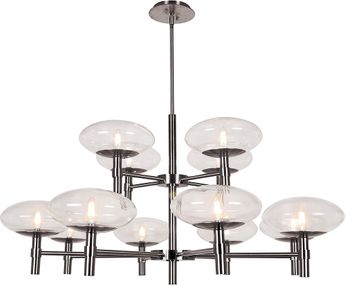 Access 52094LEDDLP-BS-CLR Grand Contemporary Brushed Steel LED Chandelier Light
