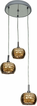 Access 52117-CH-MIR Glam Contemporary Chrome & Mirror, Clear Glass, Crystal Xenon Multi Drop Lighting