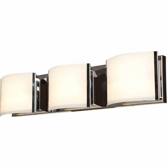 Access 62293-BS-OPL Nitro 2 Contemporary Brushed Steel Finish 25.2  Wide 3-Light Bathroom Wall Sconce