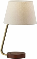 Adesso 3015-21 Louie Antique Brass with Walnut Rubberwood Base Table Lamp Lighting
