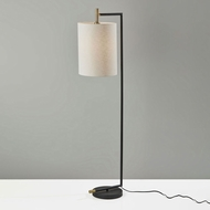 Adesso 4259-01 Garrett Contemporary Black with Antique Brass Floor Lamp Lighting