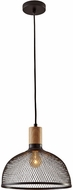 Adesso 6268-01 Dale Contemporary Matte Black and Natural Rubberwood Ceiling Light Pendant