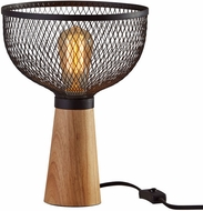 Adesso 6269-01 Dale Modern Matte Black and Natural Rubberwood Table Top Lamp