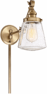 Meridian M90020NB Modern Natural Brass Wall Swing Arm Lamp