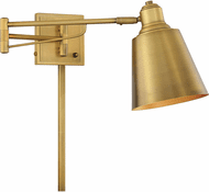 Meridian M90047NB Contemporary Natural Brass Wall Swing Arm Lamp