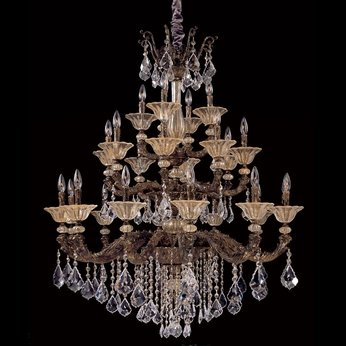 Allegri 10499 Mendelssohn Antique Gold Leaf Finish 42  Wide Chandelier Light