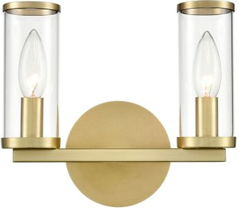 Alora WV309022NBCG Revolve   Contemporary Natural Brass 2-Light Bathroom Light Fixture