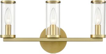 Alora WV309033NBCG Revolve   Contemporary Natural Brass 3-Light Bathroom Sconce