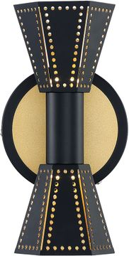 Arnsberg 220310232 Houston Contemporary Black / Gold LED Sconce Lighting