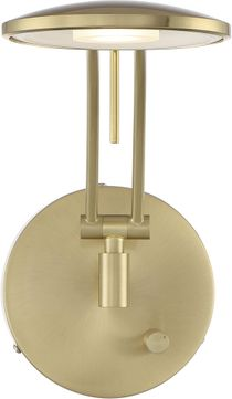 Arnsberg 225810108 Dessau Arch Contemporary Satin Brass LED Swing Arm Wall Lamp