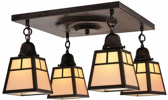 Arroyo Craftsman ACM-4 A-Line Craftsman 4-Light Flush Mount Ceiling Light