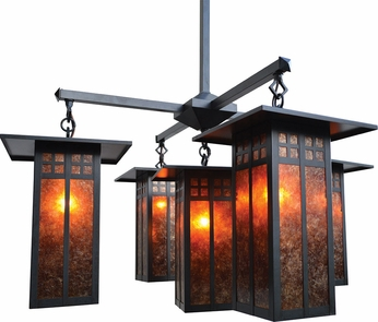 Arroyo Craftsman GCH-9L/4-1 Glasgow Craftsman 5 Light Long Body Chandelier - 33.375 inches wide