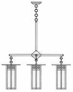 Arroyo Craftsman GCH-9L/4 Glasgow Craftsman 4 Light Long Body Chandelier - 33.375 inches wide