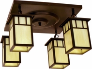 Arroyo Craftsman HCM-4L_4 Huntington Craftsman 4 Light Flush Mount Ceiling Fixture