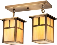 Arroyo Craftsman MCM-6/2 Mission Craftsman 2 Light Flush Mount Ceiling Fixture - 16 inches wide