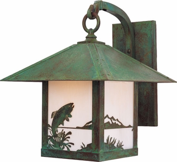 Arroyo Craftsman TRB-16TR Timber Ridge 16 inch Outdoor Wall Sconce with Trout Filigree