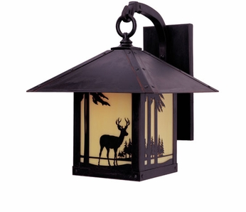 Arroyo Craftsman TRB-9DR Timber Ridge 9 inch Outdoor Wall Sconce with Deer Filigree