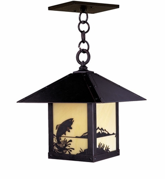 Arroyo Craftsman TRH-12TR Timber Ridge 12 inch Outdoor Pendant with Trout Filigree