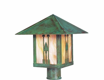 Arroyo Craftsman TRP-9AR Timber Ridge 9 inch Outdoor Light Post with Arrow Filigree