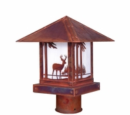 Arroyo Craftsman TRP-9DR Timber Ridge 9 inch Outdoor Light Post with Deer Filigree