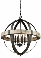 Artcraft AC10016 Castello Aspen Wood & Black Hanging Chandelier