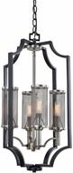 Artcraft AC10493 Oxford Contemporary Matte Black and Antique Nickel Foyer Lighting Fixture