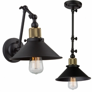 Artcraft AC10590VB Jersey Modern Vintage Brass Wall Swing Arm Lamp / Ceiling Pendant Light