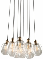 Artcraft AC10731VB Clearwater Contemporary Vintage Brass Multi Pendant Lamp