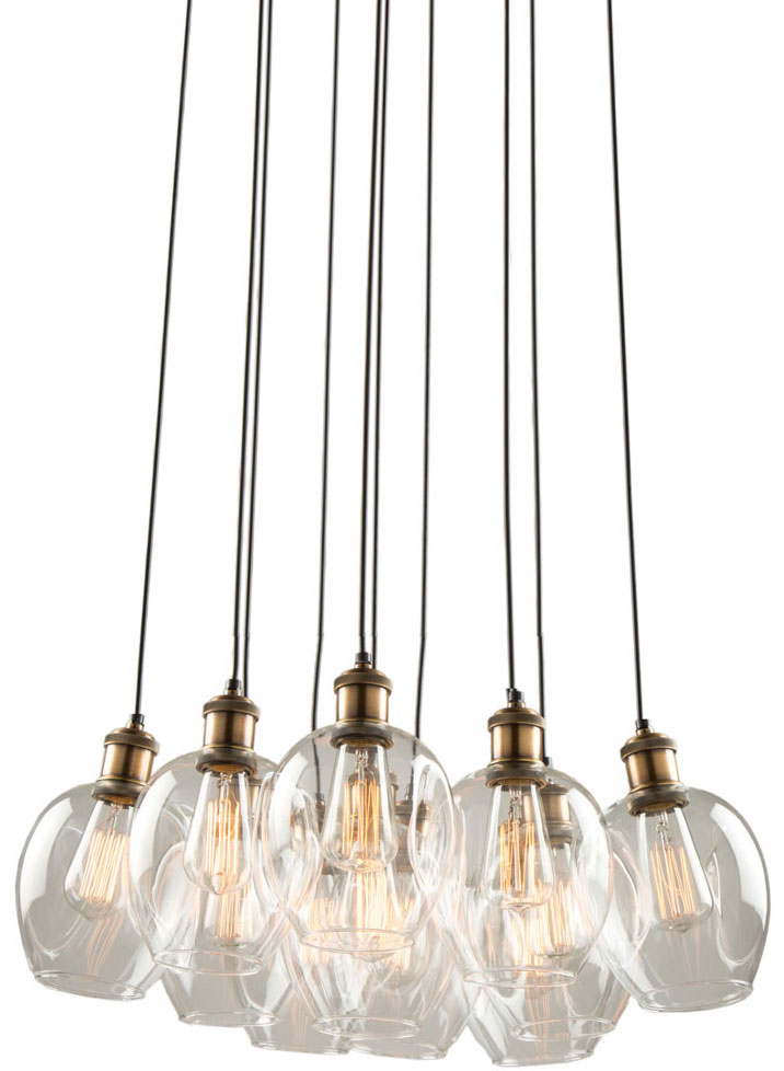 the best attitude 60c11 d6be2 Artcraft AC10731VB Clearwater Contemporary Vintage Brass Multi Pendant Lamp