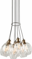 Artcraft AC10737VB Clearwater Contemporary Vintage Brass Multi Pendant Lighting Fixture