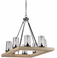 Artcraft AC10848LC Canyon Creek Modern Authentic Pine Mini Chandelier Lamp