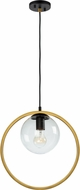 Artcraft AC10890VB Lugano Modern Black and Vintage Brass Drop Ceiling Light Fixture