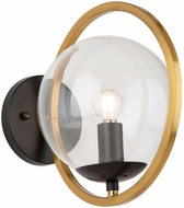 Artcraft AC10891VB Lugano Contemporary Black and Vintage Brass Wall Sconce
