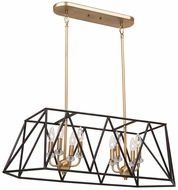 Artcraft AC11032 Harmony Modern Black & Satin Brass Kitchen Island Lighting
