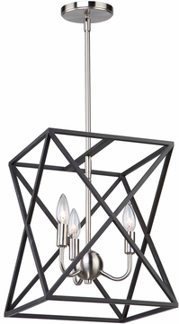 Artcraft Ac11041 Elements Contemporary Black Polished Nickel Small Foyer Lighting Fixture