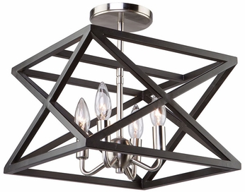 Artcraft AC11044 Elements Modern Black & Polished Nickel Ceiling Lighting Fixture