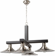 Artcraft AC11044BN Ambrose Modern Dark Wood & Brushed Nickel Chandelier Lighting