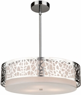 Artcraft AC11062CH Bayview Contemporary Chrome & White Drum Pendant Hanging Light