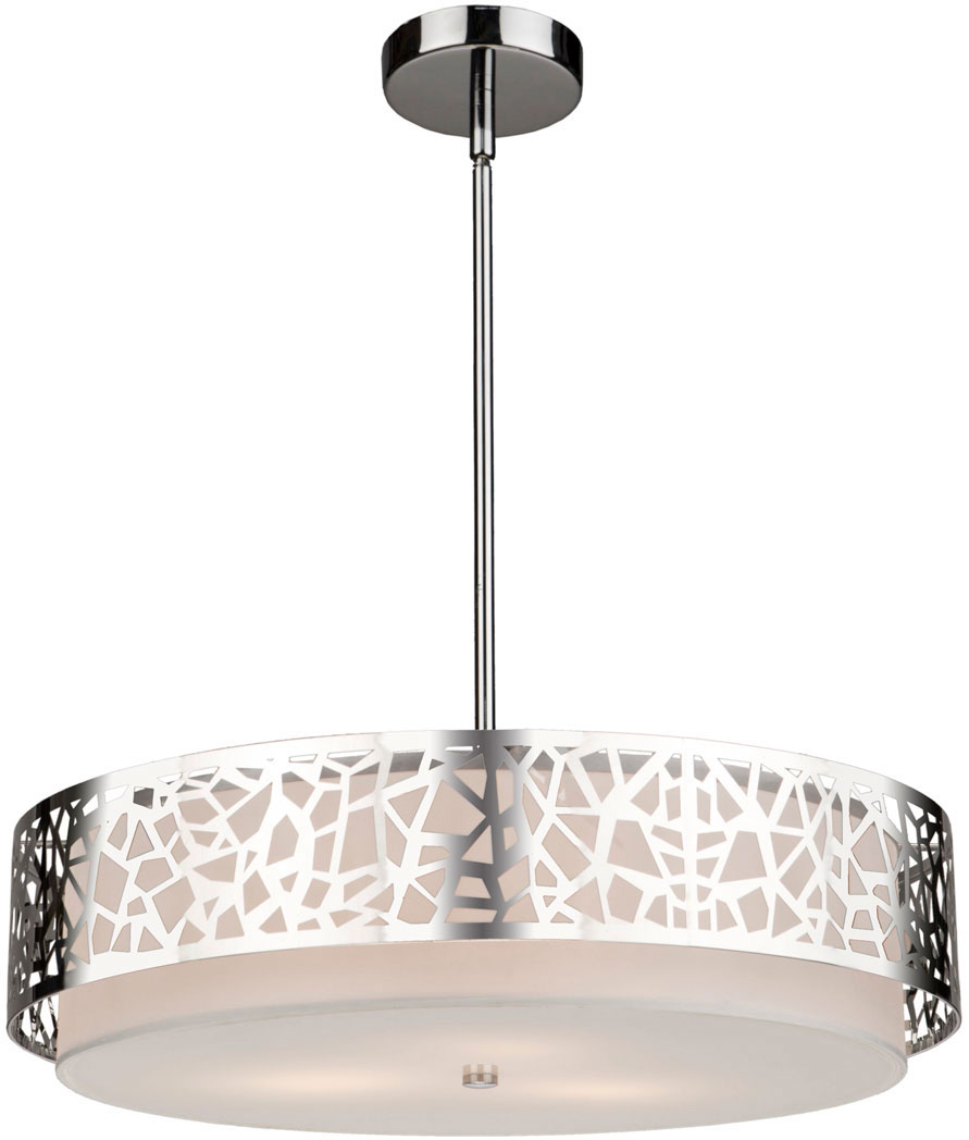 Artcraft Ac11063ch Bayview Modern Chrome White Drum Hanging Light Fixture Loading Zoom