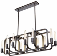 Artcraft AC11081 Marlborough Contemporary Oil Rubbed Bronze & Gold Leaf Island Light Fixture