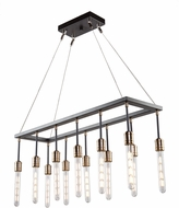 Artcraft AC11092 Willow Contemporary Dark Bronze & Vintage Brass Kitchen Island Light Fixture