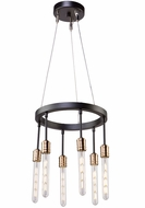 Artcraft AC11097 Willow Contemporary Dark Bronze & Vintage Brass Mini Hanging Chandelier