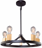 Artcraft AC11105 Skyline Contemporary Dark Bronze & Satin Brass Mini Chandelier Lighting