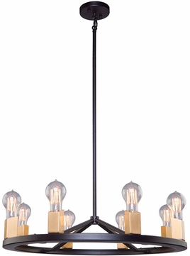 Artcraft AC11108 Skyline Contemporary Dark Bronze & Satin Brass Lighting Chandelier