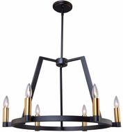Artcraft AC11126 Regent Modern Black & Satin Brass Chandelier Lamp