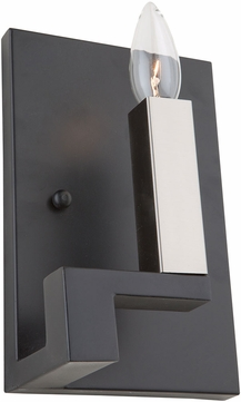 Artcraft AC11131 Urban Chic Modern Matte Black & Satin Nickel Lighting Sconce