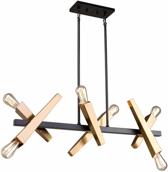 Artcraft AC11156 Olympia Contemporary Black & Satin Brass Kitchen Island Light