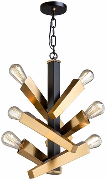 Artcraft AC11157 Olympia Modern Black & Satin Brass Mini Lighting Chandelier