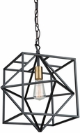 Artcraft AC11201 Roxton Contemporary Matte Black & Harvest Brass Hanging Pendant Light