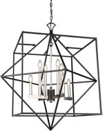 Artcraft AC11208PN Roxton Modern Matte Black and Polished Nickel 32  Chandelier Lamp